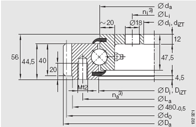 Single-row Four Point Contact Ball Slewing Bearing (External gear type)