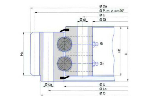 Double row ball slewing bearing (External gear type)